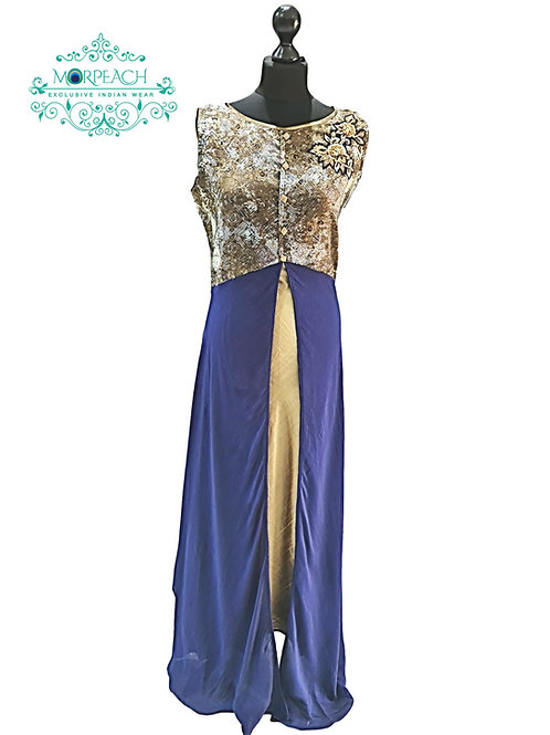 Blue And Gold Middle Slit Kurti (2XL)