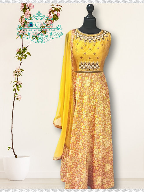 Mustard Yellow Patola Print Silk Dress (R)