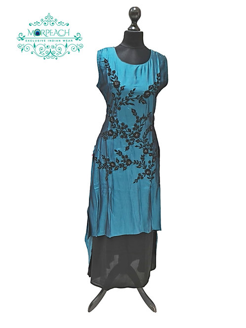 Shiny Teal Partywear Kurti (XL)