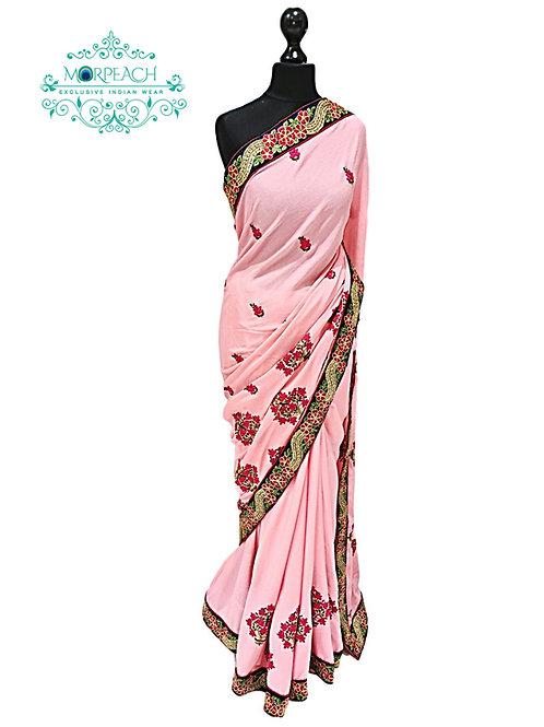 Light Pink Threadwork Saree