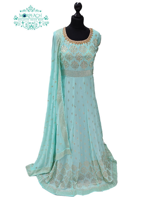 Pastel Blue Gold Embossed Sequence Dress (5XL)