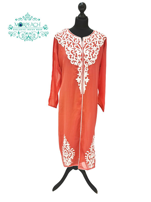 Peach Straight Cut Chiffon Kurti (7XL)
