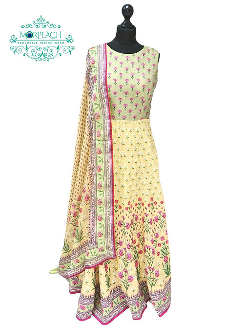 Yellow Floral Print Silk Gown
