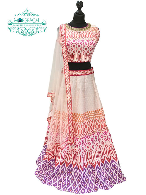 Pink And Cream Digital Silk Lehenga
