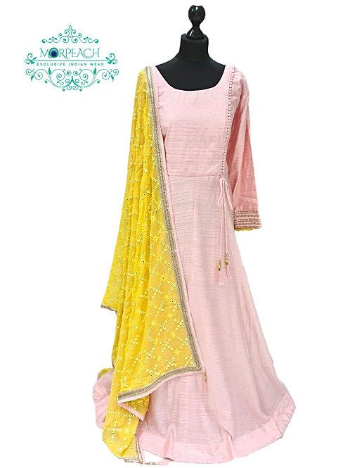 Light Pink Flared Silk Dress (4XL)
