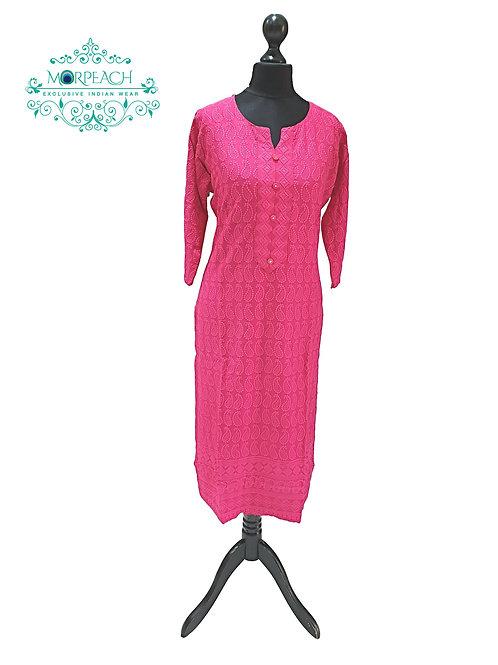 Pink Rayon Lucknowi Kurti