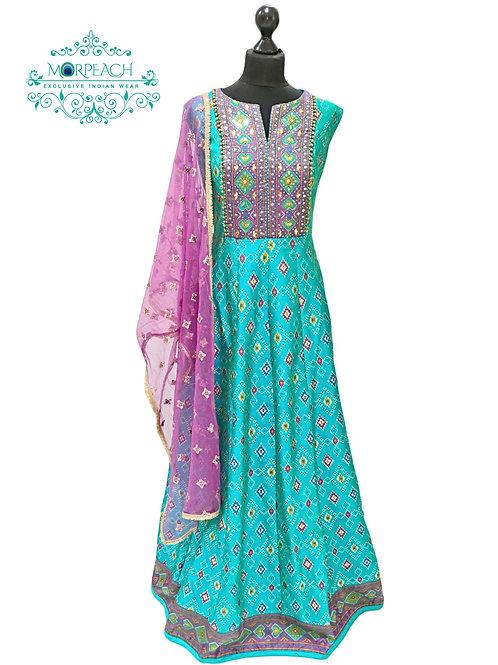 Blue Patola Print Dress (2XL)