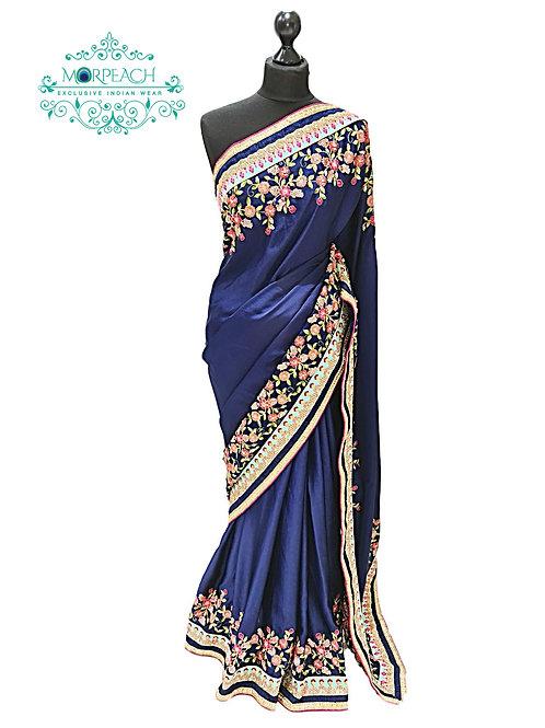 Blue Threadwork SatinSilk Saree