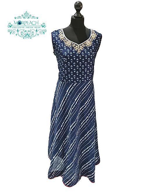 Dark Blue Tie Dye Print Kurti (4XL)