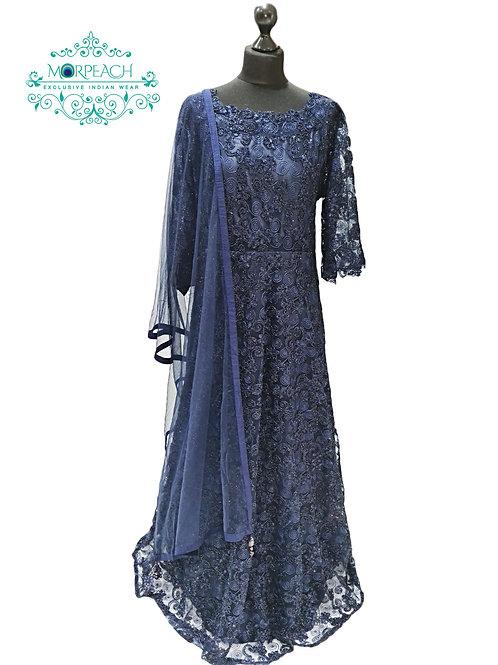 Blue Glitter Net Gown
