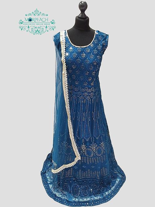 Blue Sequence Net Dress (4XL)