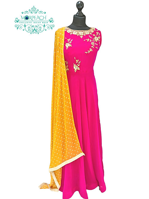 Pink Mustard Simple And Elegant Dress