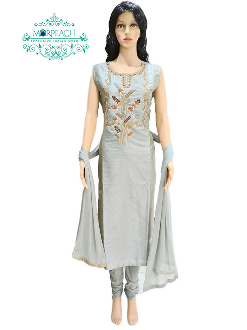 Grey Embroidered Silk Straight Dress (4XL)