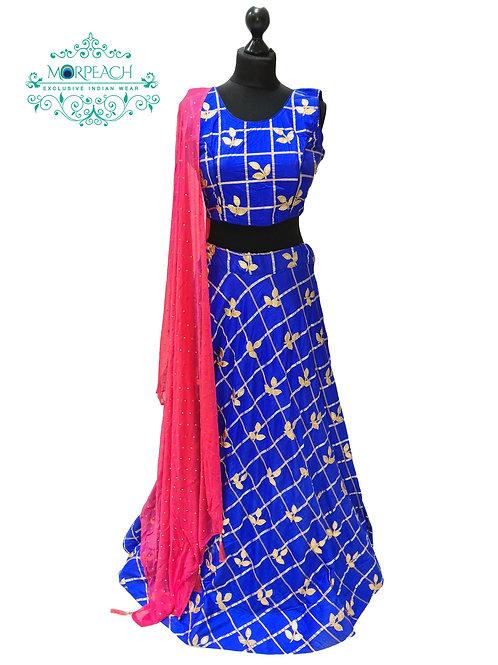 Royal  Blue And Peach Silk Lehenga (Reg)