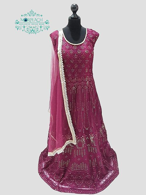 Magenta Sequence Net Dress (4XL)