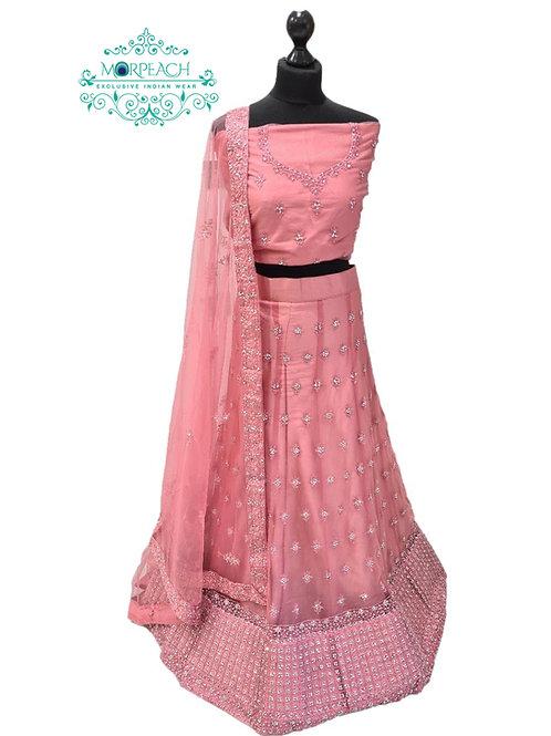 Pastel Pink Semi Stitched Net Lehenga (3XL)