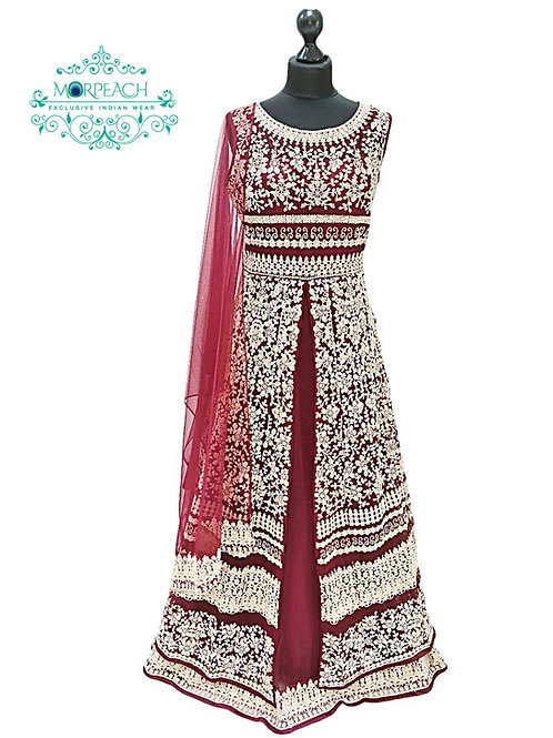 Maroon Heavy Embroidered Layered Gown (XL)