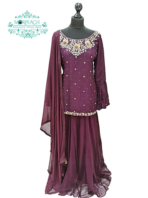 Purple Long Top Lehenga