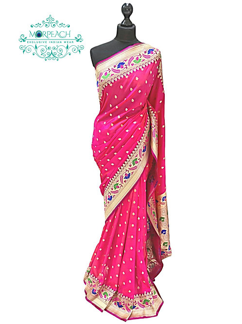 Pink Weaving Soft Silk Saree