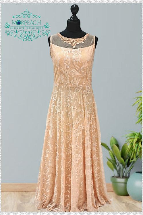 Ultra Soft Net Peach Partywear Gown (R)