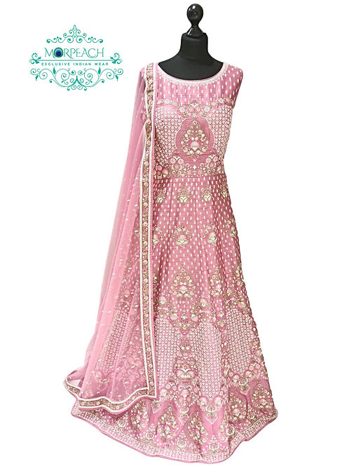 Pink Heavy Work Silk Gown