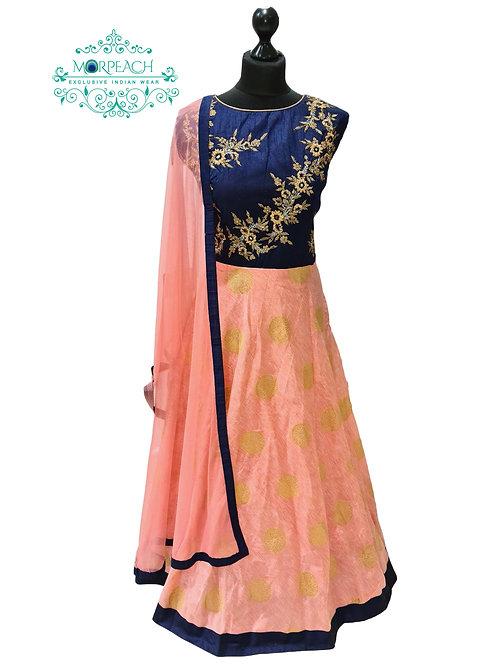 Peach And Blue Banarasi Dress (4XL)