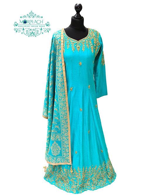 Sky Blue A-Line Silk Dress (XL)