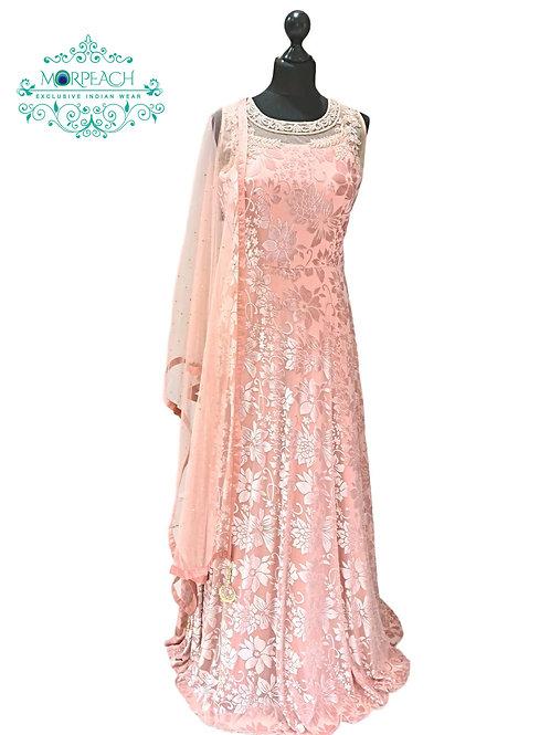 Peach Net and Velvet Gown (R)