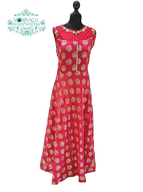 Red Foil Print Kurti Gown (2XL)
