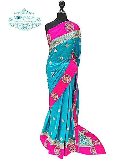 Blue and Pink Soft Silk Saree