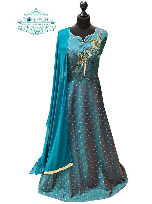 Green Two Tone Silk Dress (2XL)
