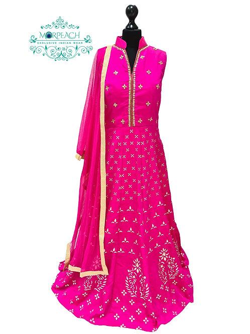Pink And Gold Silk Dress (Reg)