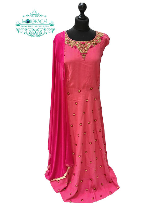 Pink Thread Embroidered Dress