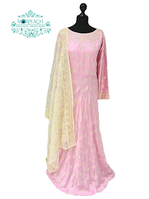 Light Pink & White Embroidered Dress