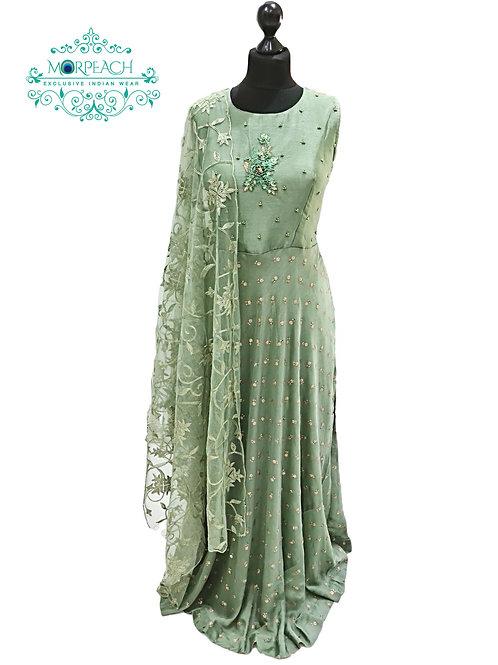 Green Chiffon Sequence Dress (2XL)