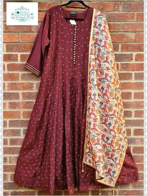 Brown Dress With Silk Dupatta (6XL)