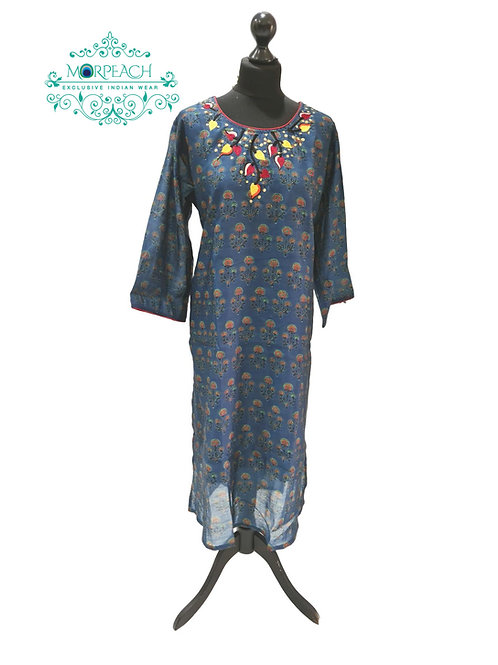 Blue Straight Cut Kurti (5XL)