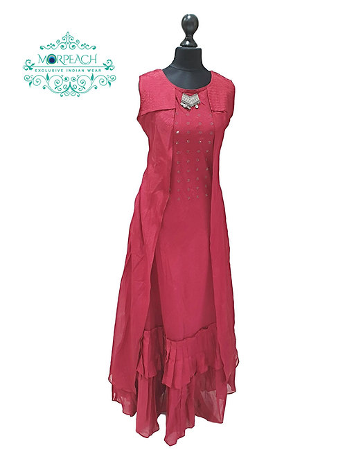 Cherry Red Partywear Kurti