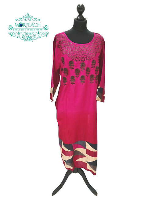 Pink And Grey Cotton Kurti (7XL)