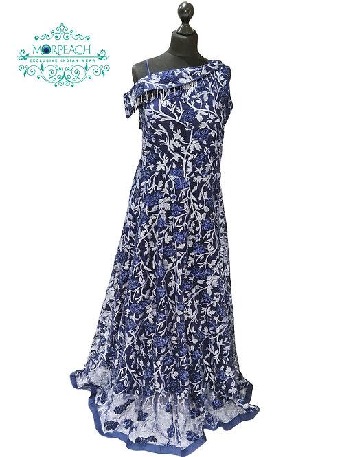 One Shoulder Blue Glitter Gown