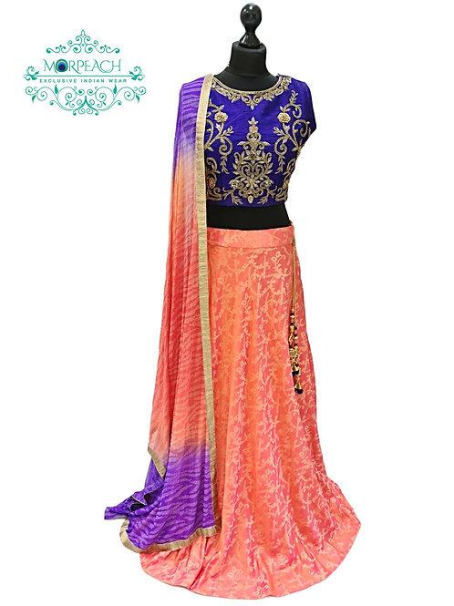 Orange & Purple Printed Silk Lehenga (Reg)