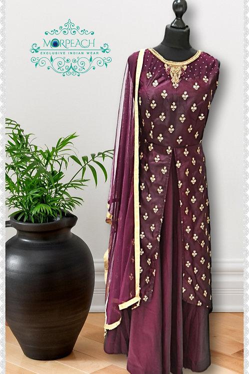 Dark Purple Attached Jacket Gown (R)