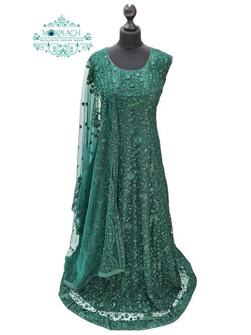 Dark Green Embroidered Sequence Dress (4XL)