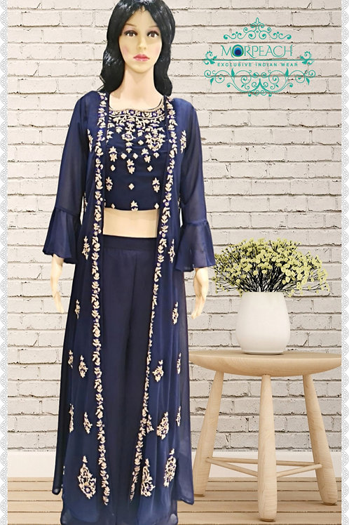 Blue Plazzo Set With Jacket (R)