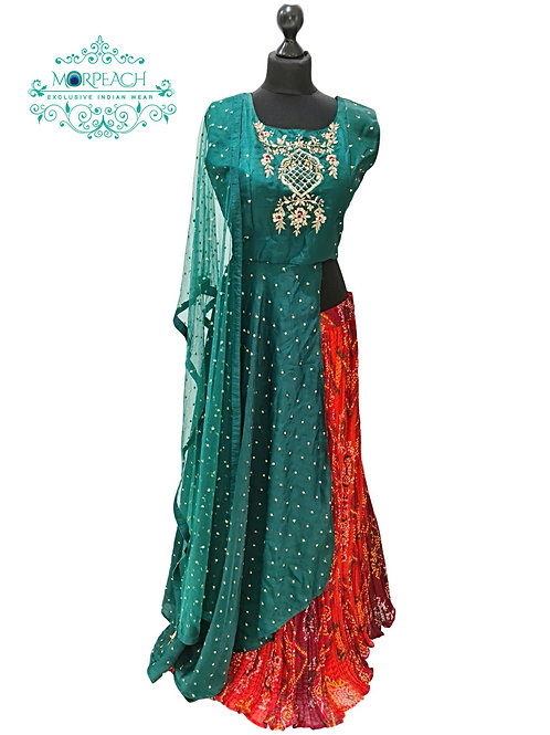 Green And Red Bandhni Lehenga Dress