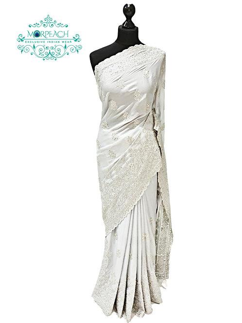 Silver Shimmer Pastel Chiffon Saree