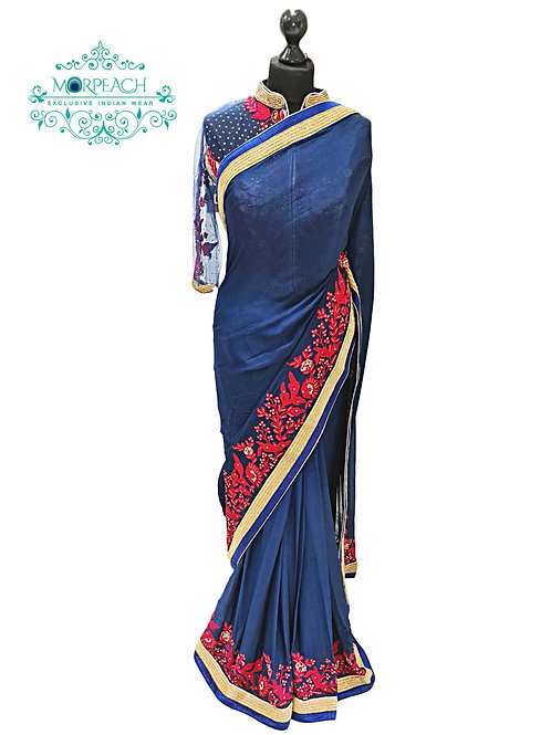 Blue Ready Blouse Chiffon Saree