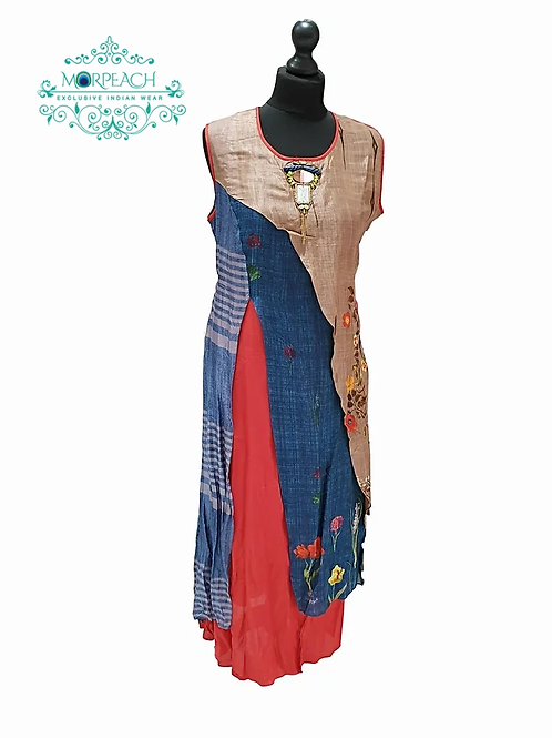 Blue and Red Cottonsilk Kurti (XL)