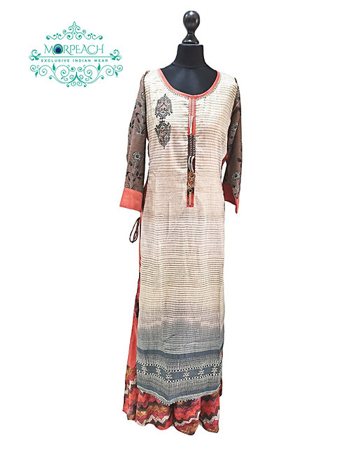 Grey Orange Layered Kurti (L)