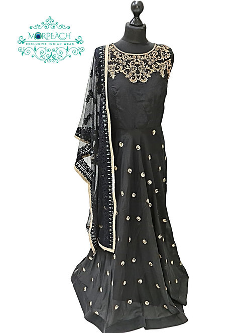 Black Chiffon Sequence Dress (XL)
